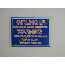 Brake Reservoir Girling Warning Label 504105L